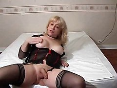 sexy blonde shemale playing in cfm high heels