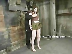 Redhead tied with rope from her neck takes her punishment defense