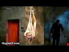 Flexible blonde hogtied and whipped and clit vibed