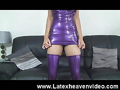 Hot Slut Dances and Strips in Latex!