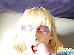 Blonde in glasses gets pasted