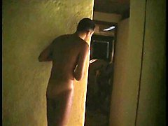 Spying on two guys having sex in the bathroom
