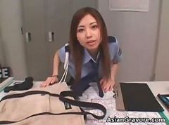 Gorgeous asian police officer blowing part6