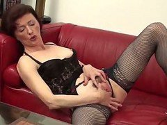 Milf In Open Hose And Lingerie Fingering