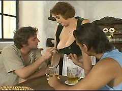 old bar maid with big boobs fucked by two young guys