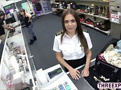 charming sexy stewardess caught pawnshop owner attention and get fucked hard